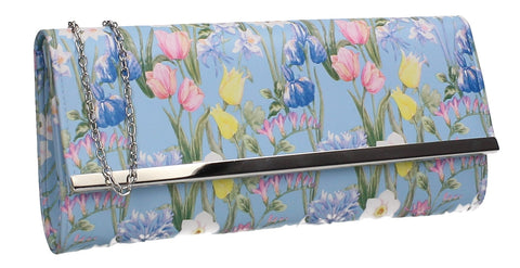 Anaya Flapover Floral Print Clutch Bag Light Blue