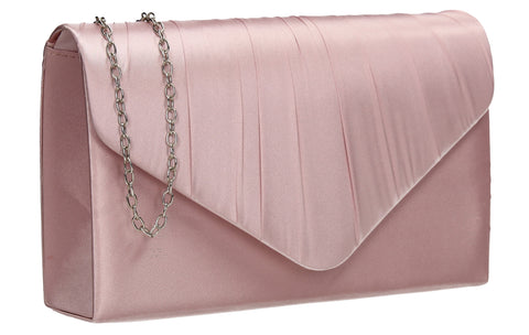 Chantel Beautiful Satin Envelope Clutch Bag Blush