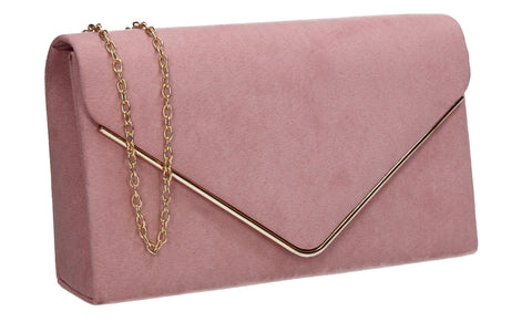 Poppy Faux Suede Envelope Clutch Bag Blush