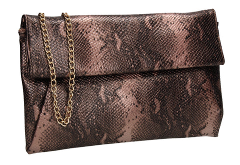 Colette Faux Snakeskin Slim Clutch Bag Bronze