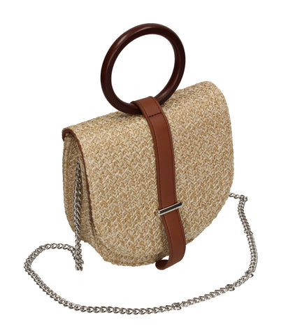 Ibiza Straw Effect Ring Handle Crossbody Bag Beige & Brown