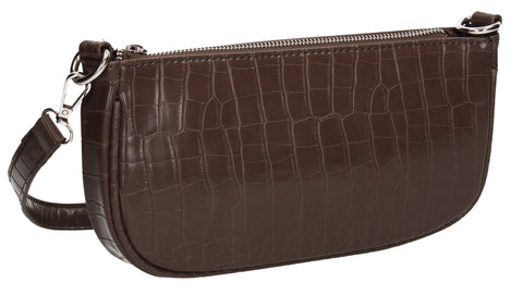 Ivana Faux Leather Croc Effect Shoulder Crossbody Bag Brown