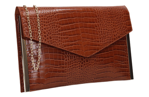 Bella Croc Effect Slim Clutch Bag Brown