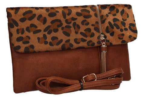 Grace Slim Leopard Print Crossbody Clutch Bag Brown