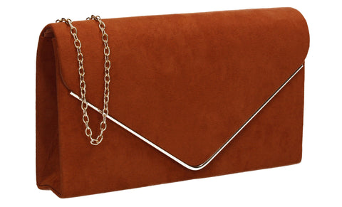 Poppy Faux Suede Envelope Clutch Bag Brown