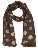 Oak Tree Print Rose Gold Foil Winter Scarf Brown