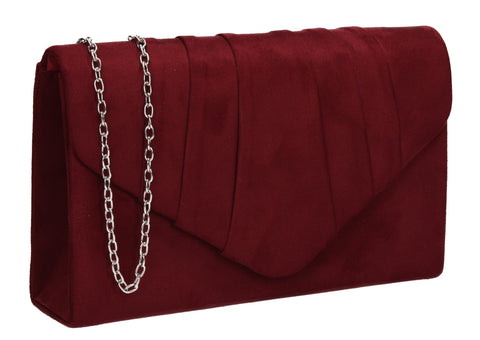 Iggy Faux Suede Clutch Bag Burgundy