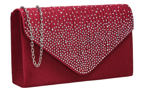 Abby Diamante Clutch Bag Burgundy