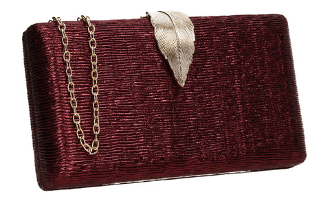 Jade Leaf Motif Box Shape Clutch Bag Burgundy