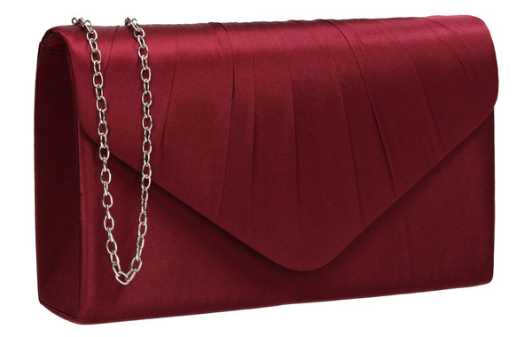 Chantel Beautiful Satin Envelope Clutch Bag Burgundy