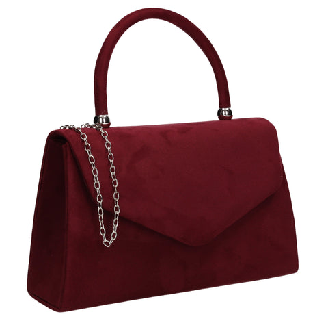 Kendall Faux Suede Clutch Bag Burgundy