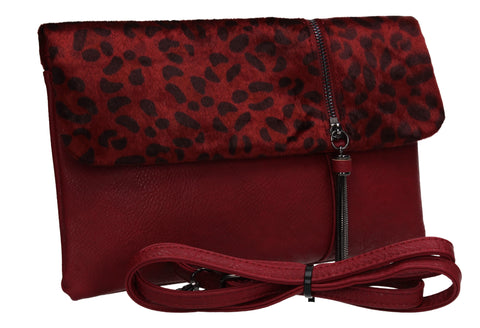 Grace Slim Leopard Print Crossbody Clutch Bag Burgundy