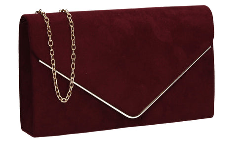 Poppy Faux Suede Envelope Clutch Bag Burgundy