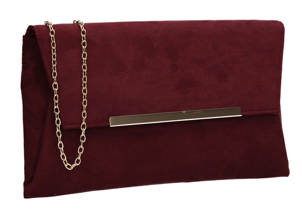 SWANKYSWANS Joe Plain Faux Suede Clutch Bag Burgundy
