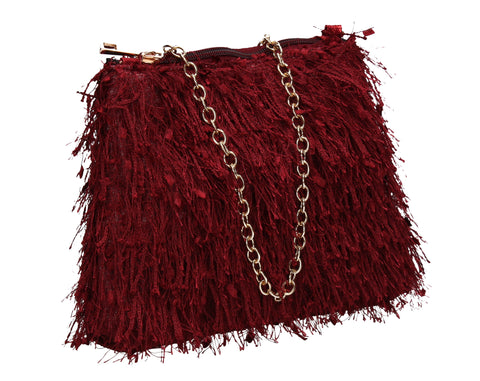Alaina Thread Tassle Zip Clutch Bag Burgundy