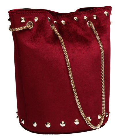 Clare Studded Plain Velvet Shoulder Bag Burgundy