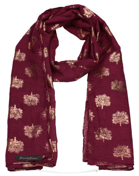 Oak Tree Print Rose Gold Foil Winter Scarf Burgundy