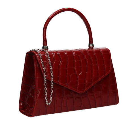Rachel Faux Leather Snakeskin Effect Clutch Bag Burgundy