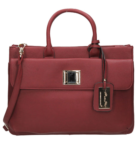 Elle Business Handbag - Burgundy-Handbags-SWANKYSWANS