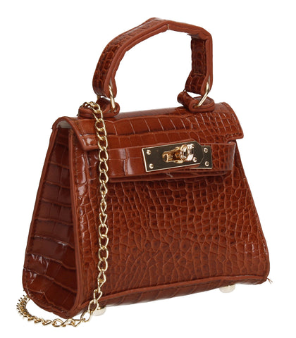 Layla Faux Leather Croc Mini Grab Crossbody Evening Bag Tan Brown