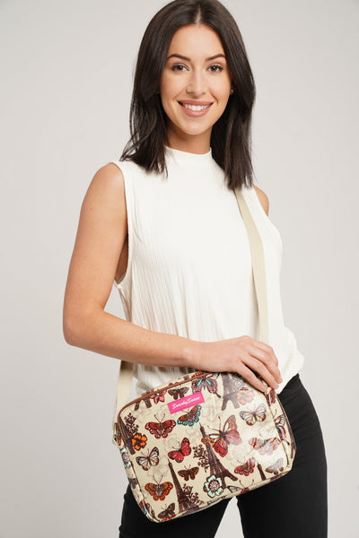 Noel Paris Butterfly Floral 3 Pocket Crossbody Bag