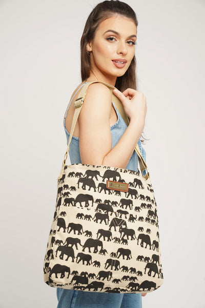 Ellie Elephant Print Crossbody Bag in Beige