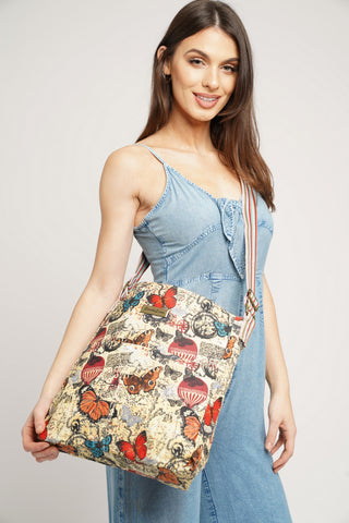 Atlantis Map & Butterfly Crossbody Beige