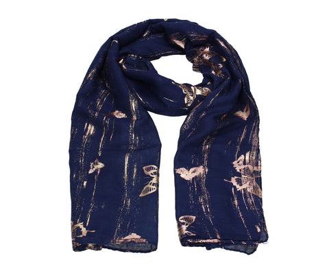 Sarah Butterfly Rose Gold Foil Scarf Navy Blue