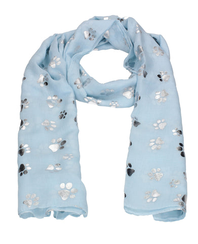 Holly Silver Foil Paw Print Puppy Dog Scarf Sky Blue