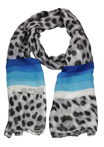 Leopard Print Striped Scarf Blue