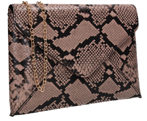 Sasha Faux Snakeskin Envelope Clutch Bag Camel Brown