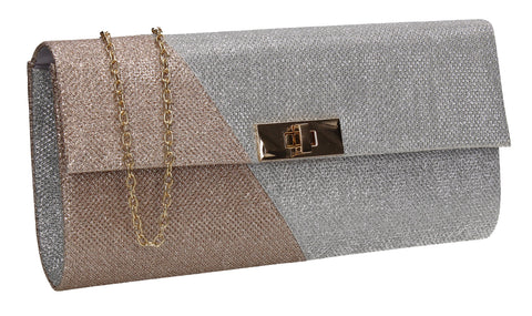Marie Dual Colour Glitter Clutch Bag Champagne
