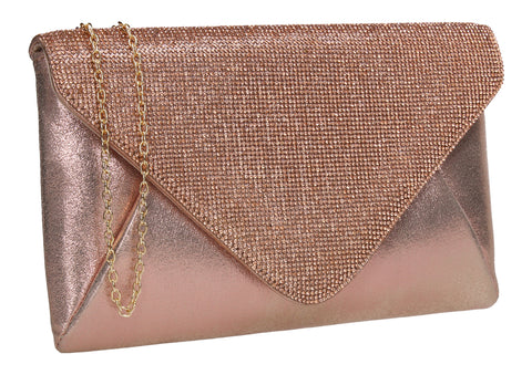 SWANKYSWANS Jean Diamante Slim Clutch Bag Champagne