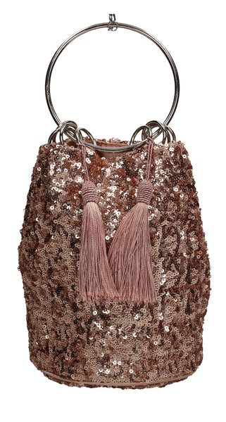 Denise Sequin & Ring Clutch Bag Champagne