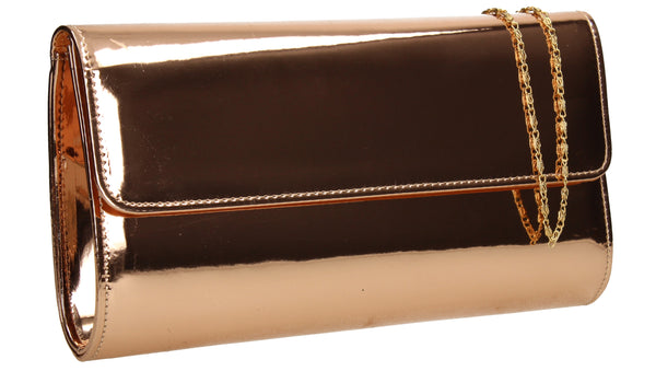 Cara Metallic Clutch Bag Rose Gold