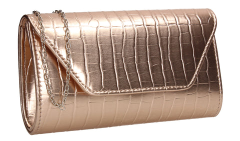 Erin Croc Effect Clutch Bag Champagne
