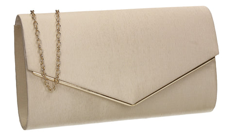 Alison Satin Envelope Clutch Bag Gold