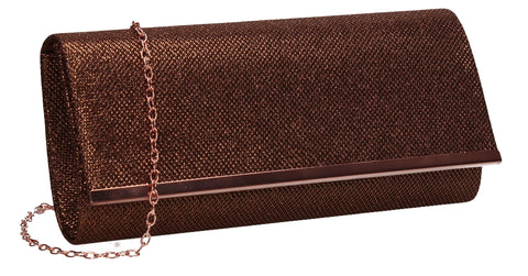 Lucey Flapover Glitter Clutch Bag Champagne