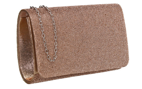 Hallie Diamante Clutch Bag Champagne
