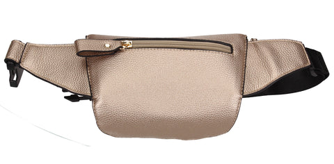 Brenna Faux Leather Stitched effect Belt Bag Champagne
