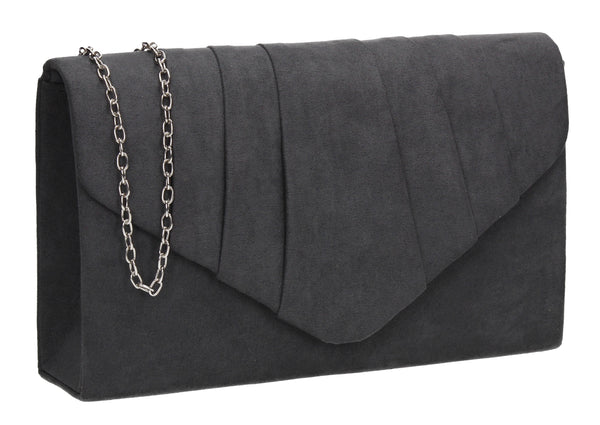 Iggy Faux Suede Clutch Bag Charcoal