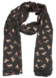 Leah Unicorn Rose Gold Foil Print Scarf Charcoal Grey