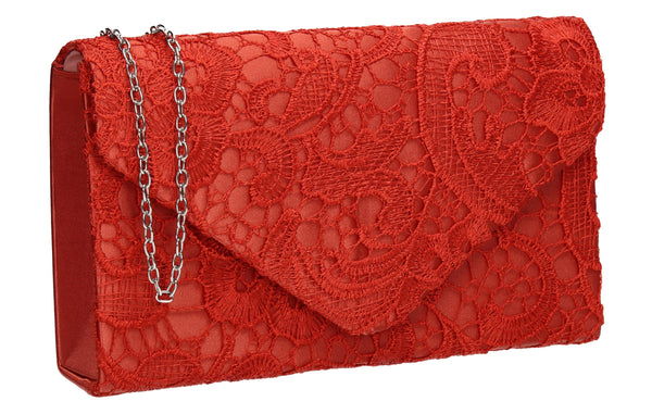 Holly Lace Clutch Bag Coral