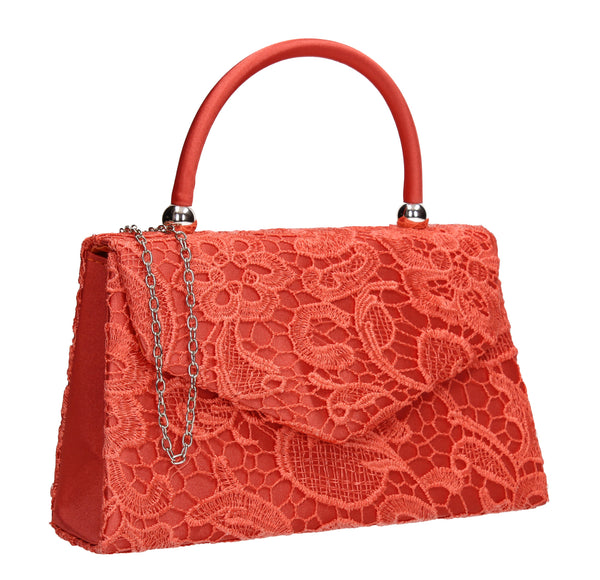 Kendall Lace Clutch Bag Coral