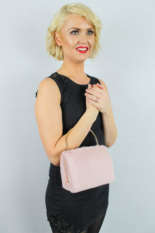 Denis Faux Fur Box Clutch Bag Pink