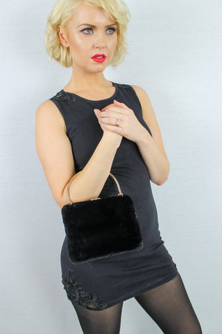 Denis Faux Fur Box Clutch Bag Black