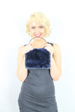 Denis Faux Fur Box Clutch Bag Navy Blue