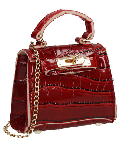 Layla Faux Leather Croc Mini Grab Crossbody Evening Bag Red