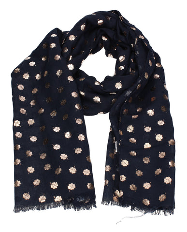 Four Leaf Clover Rose Gold Foil Print Scarf Navy Blue
