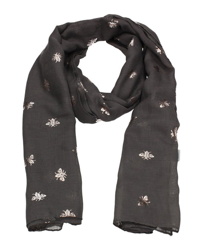 Worker Bee Gold Foil Animal Print Winter Scarf Charcoal Grey
